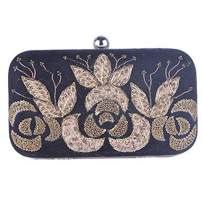 Tarusa Black Color Clutch With Antique Embroidery In Jute Raised Effect We Try To Match The Colors/details Of The Products In The Photos To The Real Ones, But Please Allow For Minor Color Variation In The Material In Some Cases For Women
