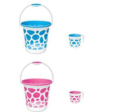MILTON Plastic Duplex Bucket With Matching Cups, Multicolour, 25 L (2 Pieces)