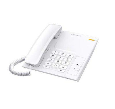 Alcatel T-26 Whiite Corded Landline Phone With Wall Mountable & Visual Call Indicator Supported By Radial Key, Flash, Mute & Pause Function