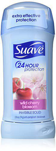 Suave 24 Hour Protection Anti-Perspirant Deodorant Invisible Solid, Wild Cherry Blossom 2.60 oz (8 Pack)
