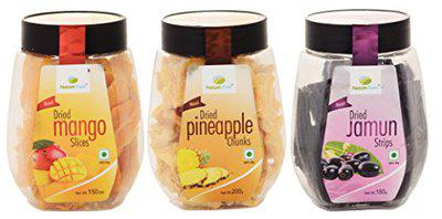 Nature Pure Dried Fruits- Mango Slices, Pineapple Chunks and Jamun Strips (150g+200g+150g)