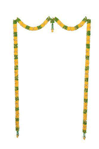 Daedal Crafters- Net Ribbon Big Door Set with Gold Roses (Golden Yellow with Green) DC191 Hanging