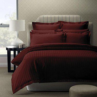 Hargunz Solid Stripes 300 Tc Cotton Bedsheet with 2 Pillow Covers - King Size, Maroon
