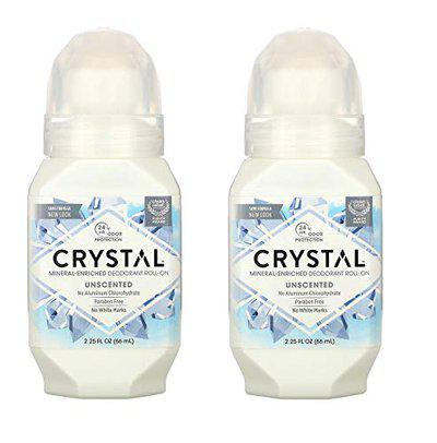 CRYSTAL CRYSTAL Unscented Roll-On Body Deodorant (Pack of 2) with Potassium Alum (a Natural Mineral Salt) and Natural Preservatives, Contains No Harmful Chemicals, 2.25 oz