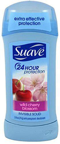 Suave 24 Hour Protection Anti-Perspirant Deodorant Invisible Solid, Wild Cherry Blossom 2.60 Oz (5 Pack)