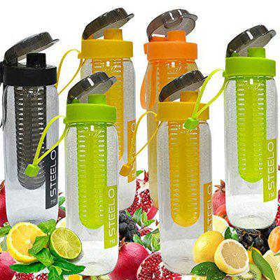 Steelo Fruit Infuser Bpa Free Transparent Plastic Sports Water Bottle Pack Of 2 (Color May Vary) 750 Ml
