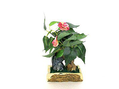 Miracle Retail Artificial Wild Plant with Pot (Total Height-23cm, Total Width-15cm) (Pink with Shade)