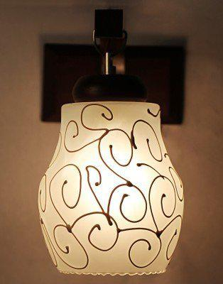 Somil Wood Wall Lamp Light with Hand Decorative Colourful Glass Shade, Compatible with 5 to 60 Watt LED and Other Bulb, Round