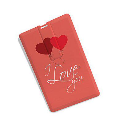 100yellow Credit Card Shape I Love You Printed 16GB Fancy Pen Drive