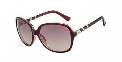 TED SMITH UV Protected Square Women's Sunglasses - (TSS-1008S_C3|58|Brown Color Lens)