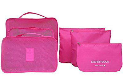 ShopAIS 6 IN 1 Travel Clothes Bag Cosmetic Laundry Make-Up Storage Pouch Organizer - Pink