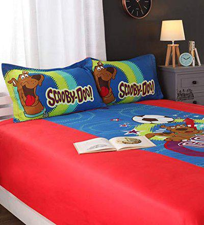 Amk home decor Portico York Scooby Doo Kids Single Bed Sheet with 1 Pillow Cover