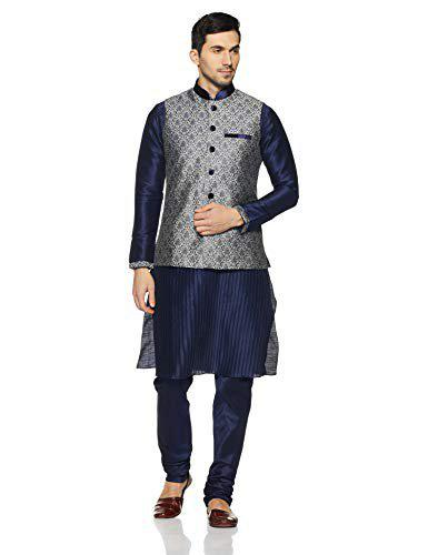 Manyavar Men's Blended Full Sleeves Regular Fit Striped Kurta Paired with Churidar and Nehru Jacket (Dark Blue, XXL)