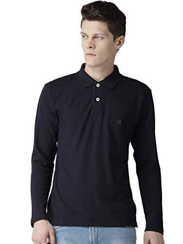CHKOKKO Men's Cotton Polo Neck Full Sleeves Plain T Shirt (Navy Blue, Medium)