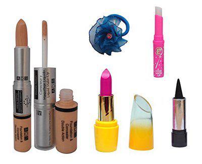 ADS Foundation & Concealer (2 in 1), Lipstick, Kajal, pink Lips and Band