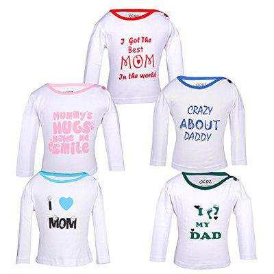 Gkidz Pack of 5 Mom and dad Theme Printed White Long Sleeve T-Shirts (INF-5PCK-LSLV-MND-1-WHT-6-12M_White_6-12M)