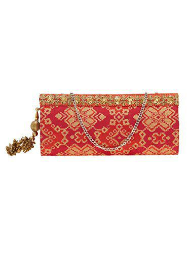 TARUSA Red & Orange Embroidered Fabric Clutch For Women