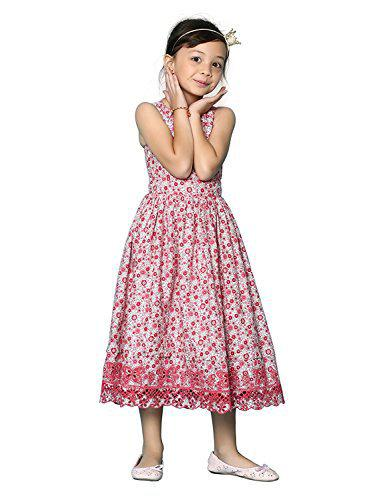 Tiddlywings Embroidered Cotton Printed Sleeveless Dress for 6 Year Kid Girl
