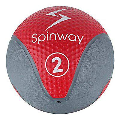 Spinway Water and Sweat Resistant Rubber Medicine Ball with Textured Grip| Ideal for Bounce Passes, Chest Passes & Overhead Passes, Lunges, Squats,Push-ups & Many More Exercises | 2 Kg