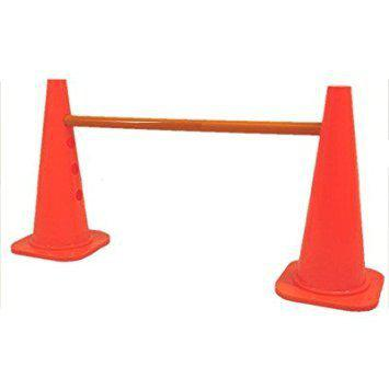 Sahni Sports Adjustable Hurdle Cone Set - Sports Cones for Agility Training - Heavy Duty Cones and Resistant Poles - Hurdles for Track, Soccer, and Football (18 INCHES Cones)
