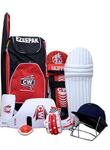 CW Sports Cricket Set Kit Red All Size Top Quality Best Material Constructed All Sizes Shoulder Kit Best Tools Equipment Batting Set Without Bat (Size No. 5 Ideal for 9-10 Year Child)