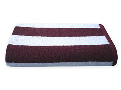 Divine Overseas Cabana Stripes Super Soft 100% Cotton Velour 500 GSM 30 x 60 Inches (Pack of 1 Bath Towel, White & Wine)