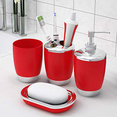 Story@Home Bathroom Accessories Set (4 Piece) with Toothbrush Holder, Liquid Bottle Dispenser, Soap Dish and Tumbler (Plastic), Red