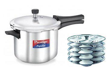 Prestige Popular Stainless Steel Induction Base Pressure Cooker 5 Ltrs and Stainless Steel Idli Plates Combo