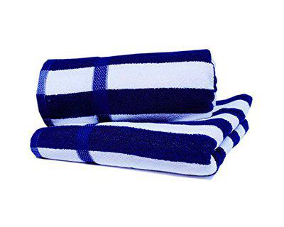 Space Fly Fine Soft & Cotton Attractive Big Size 2 Bath Towels (58X28 Inch_Blue & White_Cabana)