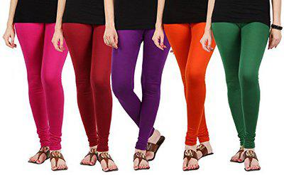 Pixie Women's/Girls Cotton Lycra 4 Way Stretchable Churidar Soft Leggings Combo (Pack of 5) Pink, Maroon, Purple, Orange and Dark Green - Free Size
