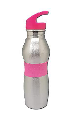 Tuelip Stainless Steel Water Bottle with Straw Cap, 700 ml, Pink