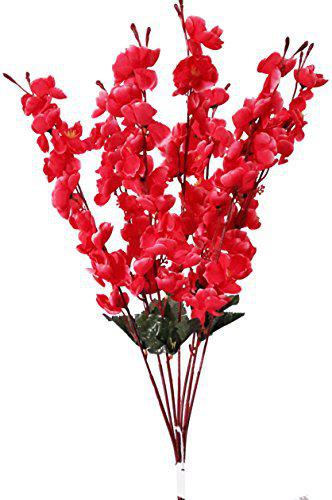 Urvi Creations Artificial Red Blossom Flower Bunch for Home Decor Real Touch Cherry Plum Bouquet (7 Stems, 45cm)