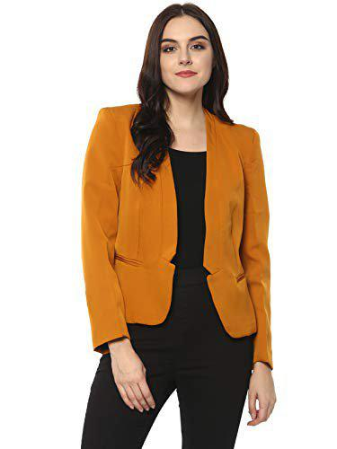Pannkh Printed Single Breasted Casual Women Blazer(yellow)