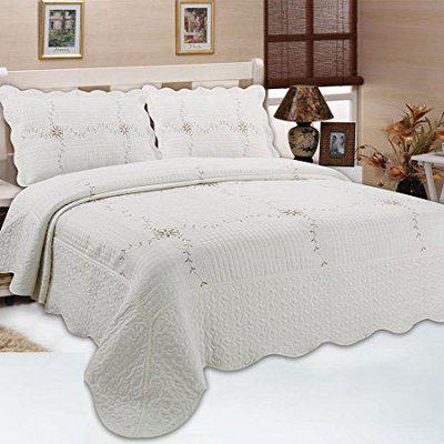 Quilting Tree Jacquard Embroidery Pattern Quilted Bedspread with Pillowcase (Lily White