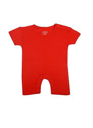 Gkidz Infants Short Sleeve Solid Red Romper (INF-SSLV-SLD-RMPR-RED-12-18M_Red_12-18 Months)