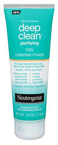 neutrogena deep clean mask/cleanser purifying clay 4.2 ounce (124ml) (2 pack)