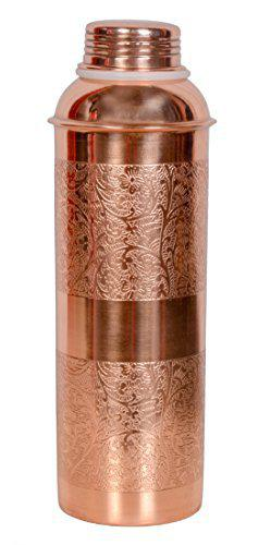 CopperKing100 Pure Embossed Copper Bottle- 800ML, Leak Proof for Ayurvedic Health Benefits.