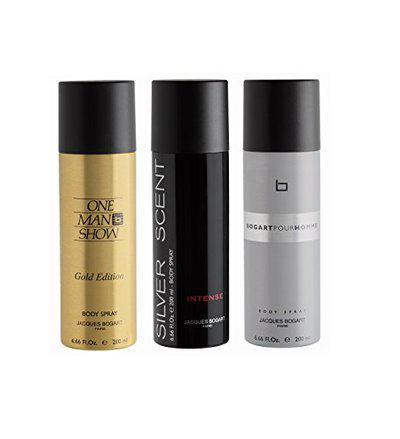 Bogart Bogart One Man Show Gold + Silver Scent Intense + Pour Homme Deo Combo Set - Pack Of 3, 600 ml (Pack of 3)