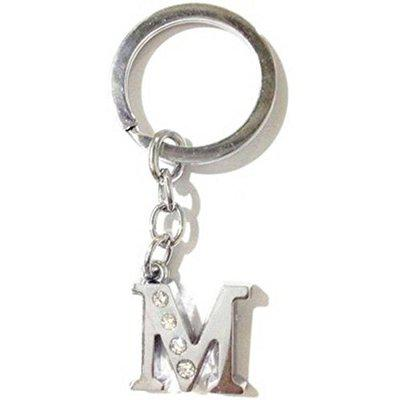 GUPTA FANCY STORE Alloy Alphabet English Letters Crystal Initial Charms Keychain(Letter M)