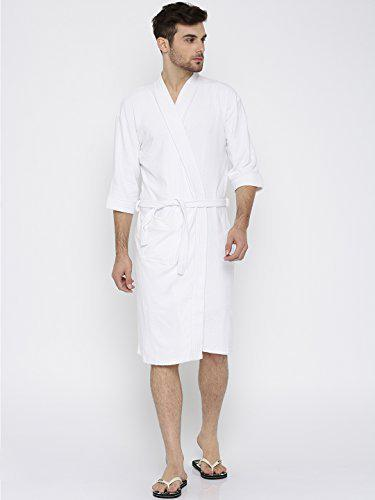 Sand Dune - White Color Mens 100% Terry Cotton Bathrobe Gown - Full Sleeve Knee Length with Pocket - Gents Bath Robe is Available in Size L