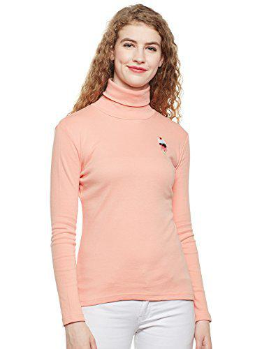 HYPERNATION Dusty Pink Color Cotton High Neck for Women