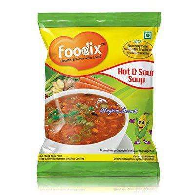 Foodix Hot & Sour Soup Instant Mix 300g, (12g X 25 Pack) - Instant Soup Packets in Pantry - Tantalizing Aroma, Mouth-Watering Taste and Perfect Consistency Soup Mix - Gluten Free Soups Hot and Sour