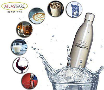 Atlasware Made in India Stainless Steel Hot and Cold Vacuum Bottle Grey 500ml