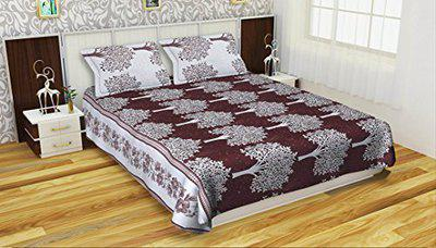 Double Bedsheet Cotton Fabric Floral Design Wine Color Size 90x100 inch, Reversable Double Bedsheet King Size Bedsheet with 2 Pillow Covers, Superior Elegant One Side light color and one side dark color Bedsheet Cotton, Bedsheet for Home, Regular use, Hotel Use By Akshaan Texo Fab, Attractive Color Combination Premium Platinum Superior Elegant Multi-Color, Pure Comfort Double Bedsheet Cotton Super quality Desing Double Reversable Bedsheet