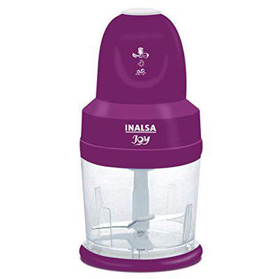INALSA 4-in-1 Chopper Joy-250W Copper Motor, Chop, Mince,Puree,Whisk,850 ml Capacity, One Touch Operation, 1.30mtr Long Power Cord, (White/Purple)