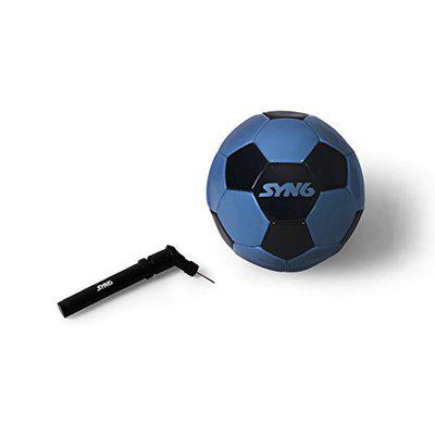 SYN6 Match Football with Pump, 1.25mm PU Material with 2 PLY Lamination (Blue & Black), Size 5