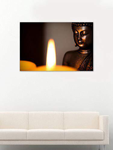 999Store Printed Buddha Statue And Candle Light Canvas Painting (36X24 Inches, Wooden Framed)