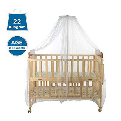 Mee Mee Baby Wooden Cot (Mosquito Net - Wooden Color)