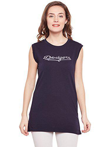 CAMEY Women/Girls Navy Casual Sleevless Round Neck Fit Henley Long Top