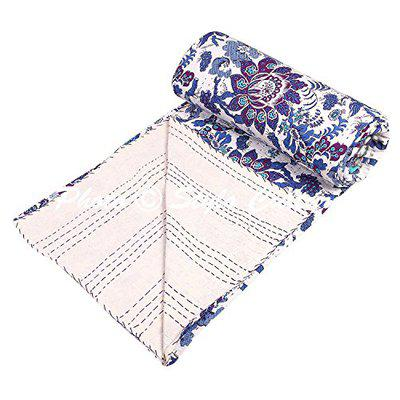Traditional Ethnic Kantha Indian Bedding Single Dark Blue Cotton Bird Hand Stitched Blanket Bedding Bed Cover by Stylo Culture
